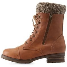 Mark & Maddux Sweater-Cuffed Lace-Up Combat Booties (770 MXN) ❤ liked on Polyvore featuring shoes, boots, combat boots, botas, brown, lace up boots, brown lace up boots, chunky combat boots, brown boots and cuffed boots