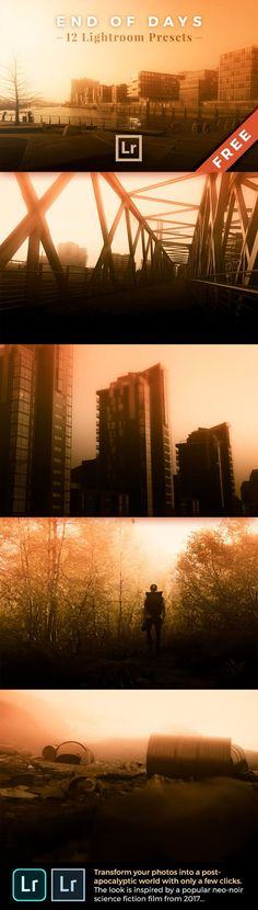 End of Days – FREE Lightroom Presets: With this unique and FREE collection of 12 Lightroom presets you can transform your photos into a post-apocalyptic world with only a few clicks. The look is inspired by a popular neo-noir science fiction film from 2017 and is strongly dominated by orange and yellow.