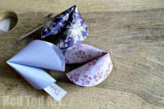 Paper Fortune Cookies How To - super easy step by step photo guide to making Paper Fortune Cookies - includes a fabulous craft video too!