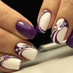 Pretty purple and white nails