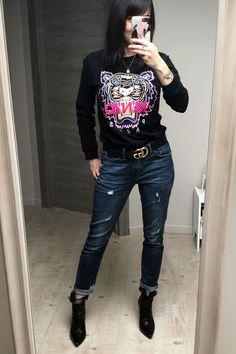 Jean Boyfriend Destroy, Sweat Shirt, Jerome Dreyfuss, Lookbook, Tiger, Liu Jo, Suzy, Leather Pants, Outfits