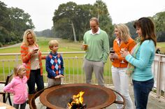 Firepit at Big Jim's restaurant overlooking the Jones golf course, Palmetto Dunes, Hilton Head