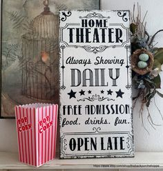 Home Theater Sign Movie Night Sign Family Signs Family - Vintagedecor Theater Room Decor, Movie Theater Rooms, Home Theater Setup, Home Theater Speakers, Home Theater Seating, Home Theater Projectors, Home Theater Design, Cinema Room, Theatre Rooms