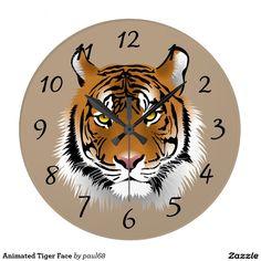 Animated Tiger Face Wall Clocks