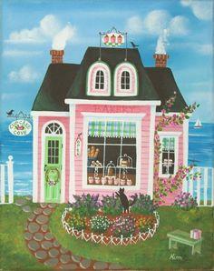 Etsy の Cupcake Cove Bakery Folk Art Print by KimsCottageArt