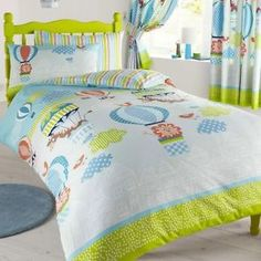 Single BED Duvet Cover SET UP IN THE AIR HOT AIR Balloon Giraffe Animals Clouds | eBay