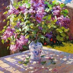 painting - Lilac by Vadim Dolgov Lilac Painting, Watercolor Paintings, Flower Paintings, Art Floral, Art Through The Ages, Cool Art Projects, Art Deco Wedding, Still Life Art, Fruit Art