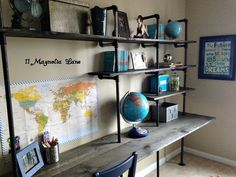 DIY Industrial Shelving & Desk {in a boy's room See how you can easily transform a blank wall in a boys room with some boards and pipe. Create a desk with extra shelves for storage, easy weekend project! - Industrial Shelving and Kids Desk! Bedroom Desk, Bedroom Boys, Diy Bedroom, Boy Rooms, Girl Bedrooms, Bedroom Green, Bedroom Small, Trendy Bedroom, Bedroom Colors