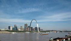 The newly-completed Saint Louis Gateway Arch, dedicated in 1968.