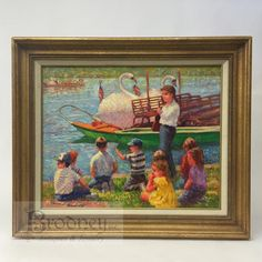 """Framed oil painting by Edward Brodney, 1910-2022, title """"Class trip to Swan Boats"""", Public Gardens, Boston, Massachusetts, canvas size (20X16)"""", Frame size (26X22)"""""""