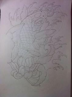 Carp Tattoo, Tattoo Art, Koi Tattoo Design, Tattoo Designs, Tatoo Styles, Line Drawing, Tattos, Samurai, Tattoo Ideas