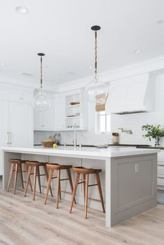 White Small Kitchen Remodel Ideas Ventilation aspect in kitchen design. Most of us sometimes ignore ventilation as part of the qualities of a good kitchen design. Kitchen Room Design, Modern Kitchen Design, Home Decor Kitchen, Interior Design Kitchen, Home Kitchens, Gray Kitchens, Modern White Kitchens, Fitted Kitchens, Best Kitchen Designs