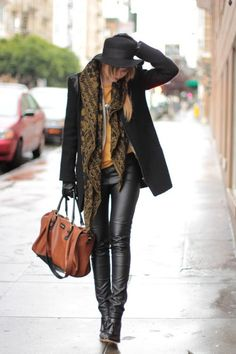 such a great outfit love the tribal scarf with the hat and leather! #fall #winter #street