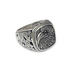 NOVICA Eagle Theme Handcrafted Sterling Silver and Garnet Ring ($73) ❤ liked on Polyvore featuring jewelry, rings, clothing & accessories, garnet, signet, novica rings, novica jewelry, signet ring, cut out ring and hand crafted rings