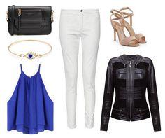 White pants, black handbag, blue top, gold bracelet, black leather jacket - Monica - Verssen, beige high heels
