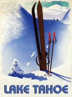Lake Tahoe Ski Winter Race Sport Skis Mountain Vintage Poster Repro Free s H | eBay