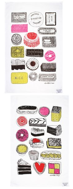 Yummy English cakes, biscuits - tea towels by Charlotte Farmer from great site: eatdrinkchic