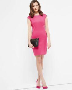 Embellished bodycon dress - Pink   Dresses   Ted Baker FR