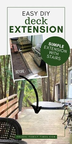 Have you got at small deck that you'd like to make bigger? A deck extension can be a great way of adding onto a deck without a huge deck remodel. That's what we did easily and on a budget. Our DIY deck extension was built in a weekend and we added double the space to our deck - without digging post holes or pouring concrete. Also included is how to match old deck boards to new ones, stairs, railing and skirting. #outdoorprojects #deckideas #deck #diy Cool Diy Projects, Outdoor Projects, Project Ideas, Patio, Backyard, Outdoor Living, Outdoor Decor, Outdoor Ideas, Outdoor Spaces