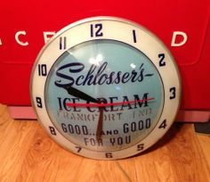 Vintage Schlosser's Ice Cream Double Bubble Advertising Clock Sign Frankfort Indiana
