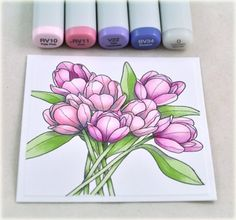 A spring card project by Debbie Olson using the new Copic colors