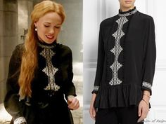 """In the episode 3x03 (""""Extreme Measures"""") Lady Greer wears this sold out Vilshenko Marni Embroidered Silk Crepe De Chine Top."""
