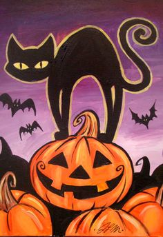 Halloween cat - painting with a twist s.-halloween desenhos, pinturas и b Theme Halloween, Halloween Rocks, Halloween Window, Halloween Painting, Halloween Drawings, Halloween Pictures, Halloween Cat, Halloween Canvas Paintings, Happy Halloween