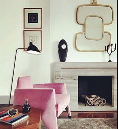 Sculptural Modern pink chair w/ gold framed organic shaped