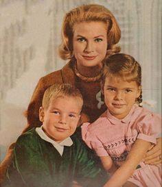 Princess Grace with her children Prince Albert II and Princess Caroline.