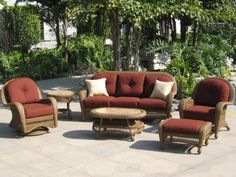 Conversation Patio Sets are the best choice for living room furniture for your home. It usually consists of a matching coffee table, end table, a chair, Outdoor Wicker Furniture, Backyard Furniture, Wicker Sofa, Patio Furniture Sets, Outdoor Decor, Furniture Ideas, Wicker Coffee Table, Coffee Tables, Bistro Patio Set