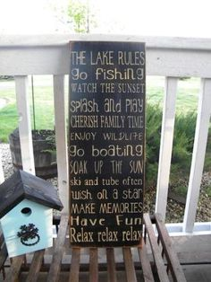 Cabin Cottage or Lake Vintage  Rules Sign Typography  by Wildoaks, $49.00