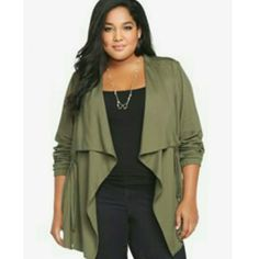 904591cc06a Today Only Nwt Torrid Olive Green Jacket Drape Front Jacket