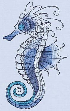 Ocean Blue - Seahorse design (UT14187) from UrbanThreads.com