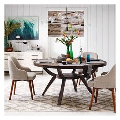 """West Elm Arc Base Pedestal Table 42"""", Smoke ($499) ❤ liked on Polyvore featuring home, furniture, tables, dining tables, west elm, west elm furniture, west elm kitchen table, west elm table and west elm dining table"""