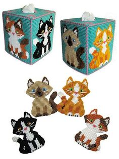 """PopularSiamese,calico, tuxedo and tiger kitties with cute """"paw prints"""" on the tissue box top. Stitched on 7-count plastic canvas; topperfits a standard boutique tissue box andcoasters are 4"""" square."""