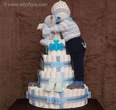 Image result for standing baby diaper cake