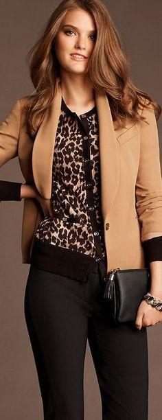 Classy Leopard Print Business Fashion   Women's Corporate Business Fashion Attire   www.pinterest.com/versique