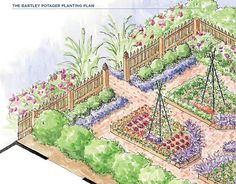 "The Bartley potager from ""Designing the New Kitchen Garden"" by Jennifer Bartley. This is my favorite garden of the moment. I love the bed shapes and the brick paths."