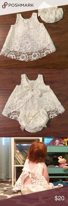Ivory Lace Dress and Diaper Cover NWOT - Ivory Lace Dress and Diaper Cover - Perfect for First Birthday Photos! - Sz 12-24M. Purchased for my daughters one year photos but never worn! Adorable dress on, open in the back Boutique Dresses