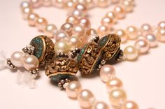 Luxurious Pearl Mala Beads Accented with Turquoise by QuietMind, $145.00