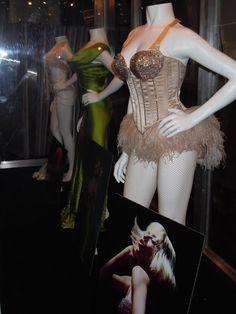 Christina Burlesque movie costumes, I love all the crystals on the corset cups!