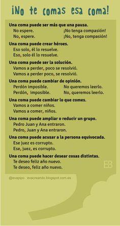 Spanish writing skills: the importance of the comma. Spanish Grammar, Spanish Vocabulary, Spanish English, Spanish Language Learning, Spanish Teacher, Teaching Spanish, Bilingual Classroom, Bilingual Education, High School Spanish