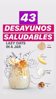 What to eat for 43 desayunos saludables. Rich and nutritious! The best HEALTHY BREAKFASTS to lose weight! Healthy Diet Plans, Healthy Snacks, Healthy Recipes, Healthy Weight, Healthy Eating, Healthy Tips, How To Eat Healthy, Healthy Water, Healthy Breakfasts