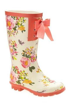 Adorable Pink & White Flower Wellington/Rain Boots. | OH How I <3 ...