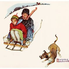 """""""Young Love: Sledding"""" by artist Norman Rockwell"""