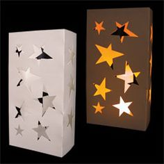 Stars luminary bag inserts...Decorate with stars and light them with LED candles. Our 50 pack of star shape cutout sleeves are perfect to insert in luminary bags. A star luminary is a great choice to use for decorating tables for Hollywood Nights, Disco Events, Rock Star parties or anytime stars fit your theme. For a great look try our color changing LED candle item and set on blue or any of our LED tea light or votive candles. Sold by the pack.