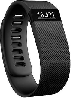 Meet the @fitbit Charge, the latest in wearable fitness trackers. It tracks your steps, distance, calories burned, floors climbed, and active minutes on the easy-to-read screen. And, it even monitors your sleep quality!