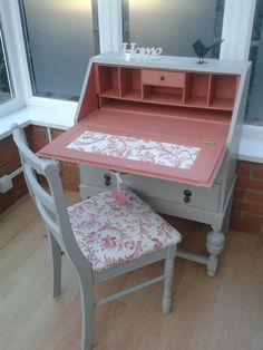 www.facebook.com/uniquenchicinteriors Oak bureau with matching chair in Annie Sloan chalk paints Scandinavian Pink and Paris Grey. Decoupage paper & fabric from Laura Ashley. £130. Poole.