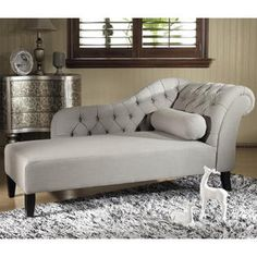 Baxton Studio 'Aphrodite' Tufted Putty Gray Linen Modern Chaise Lounge - Sears