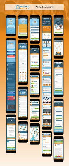 All Mockup Screens of AlumniMatch App